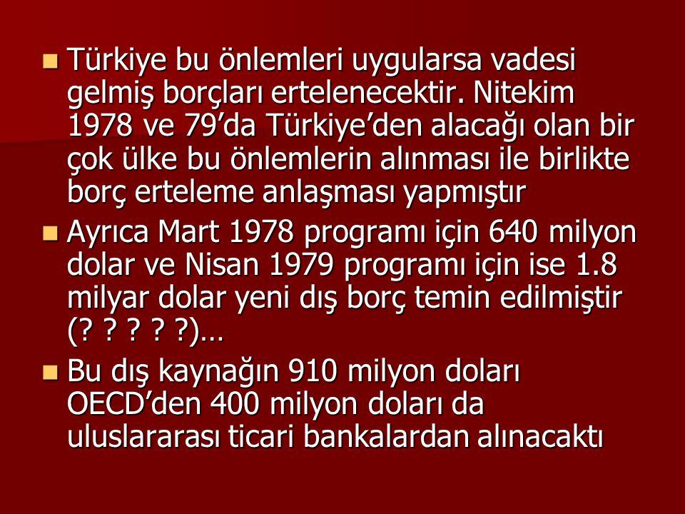  Türkiye bu önlemleri uygularsa vadesi gelmiş borçları ertelenecektir. Nitekim 1978 ve 79'da Türkiye'den alacağı olan bir çok ülke bu önlemlerin alın