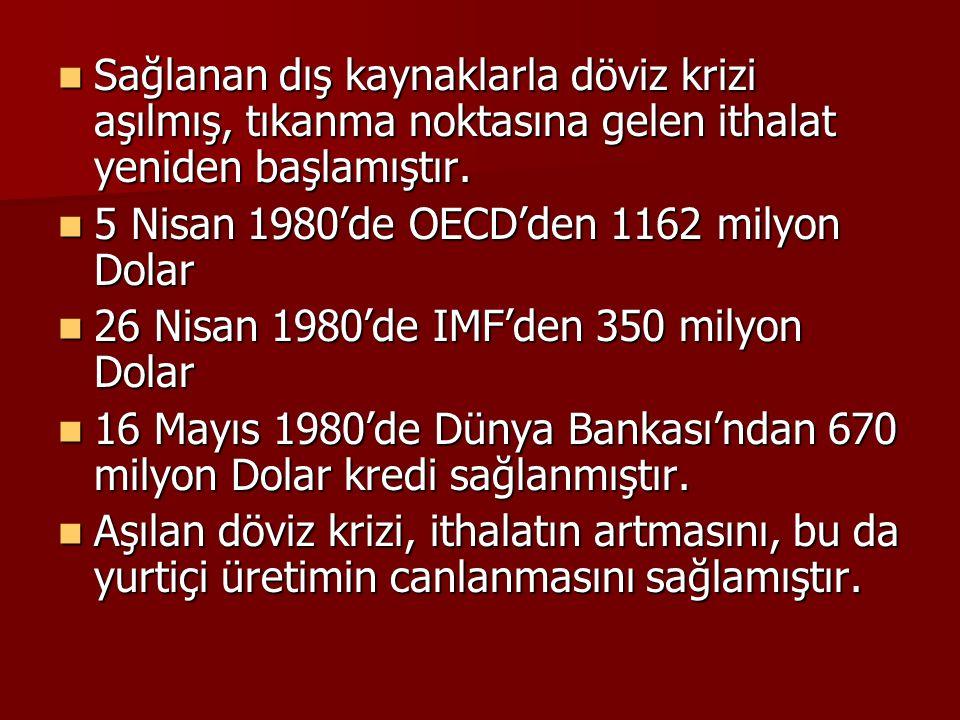  Sağlanan dış kaynaklarla döviz krizi aşılmış, tıkanma noktasına gelen ithalat yeniden başlamıştır.  5 Nisan 1980'de OECD'den 1162 milyon Dolar  26