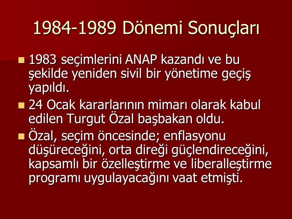 1984-1989 Dönemi Sonuçları  1983 seçimlerini ANAP kazandı ve bu şekilde yeniden sivil bir yönetime geçiş yapıldı.  24 Ocak kararlarının mimarı olara