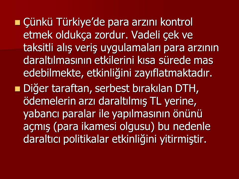  Çünkü Türkiye'de para arzını kontrol etmek oldukça zordur. Vadeli çek ve taksitli alış veriş uygulamaları para arzının daraltılmasının etkilerini kı