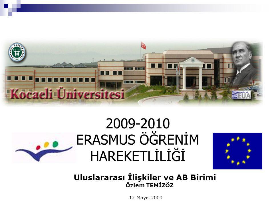 Uluslararası İlişkiler ve AB Birimi Özlem TEMİZÖZ 12 Mayıs 2009 2009-2010 ERASMUS ÖĞRENİM HAREKETLİLİĞİ