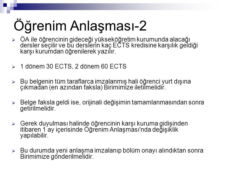 Tanınma Belgesi  3 orijinal nüsha (AB Birimi'ne, bölüme ve öğrenciye)  Erasmus bölüm/fakülte/YO koordinatörü ile hazırlanmalı  Öğrenim Anlaşması'nda yer alan derslerin KOÜ dersleri ile eşleştirilmesi  Bölüm/fakülte/YO intibak komisyonu onayı  Gitmeden önce yapılmalı ve AB Birimi'ne iletilmeli  Öğrenim Anlaşması'nda değişiklik olması halinde Tanınma da aynı şekilde değiştirilmeli