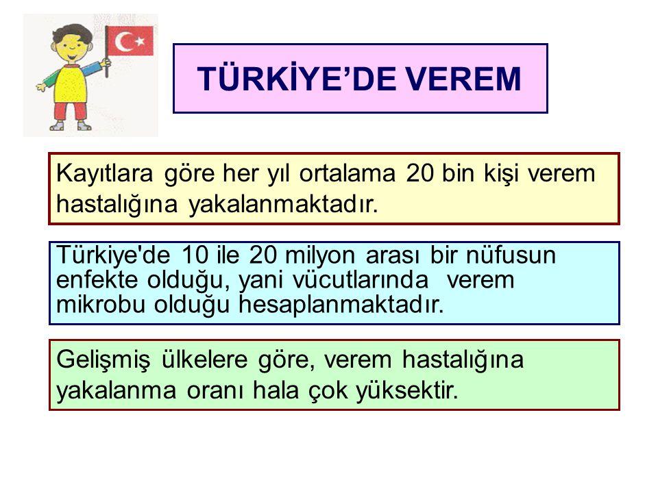 TÜRKİYE'DE VEREM Kayıtlara göre her yıl ortalama 20 bin kişi verem hastalığına yakalanmaktadır. Türkiye'de 10 ile 20 milyon arası bir nüfusun enfekte