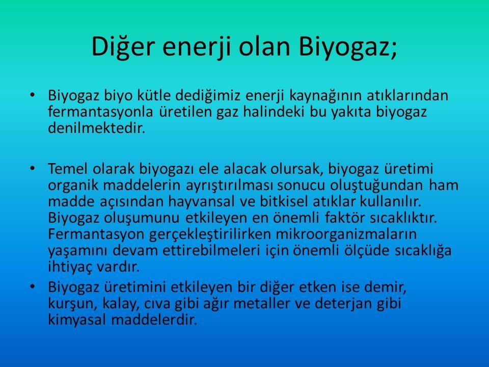 Diğer enerji olan Biyogaz; Biyogaz biyo kütle dediğimiz enerji kaynağının atıklarından fermantasyonla üretilen gaz halindeki bu yakıta biyogaz denilmektedir.