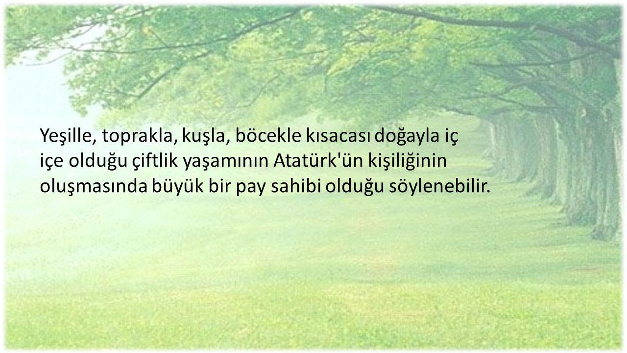 Yeşille, toprakla, kuşla, böcekle kısacası doğayla iç içe olduğu çiftlik yaşamının Atatürk'ün kişiliğinin oluşmasında büyük bir pay sahibi olduğu söyl