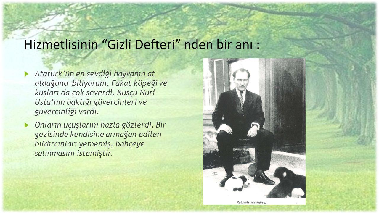 """Hizmetlisinin """"Gizli Defteri"""" nden bir anı :  Atatürk'ün en sevdiği hayvanın at olduğunu biliyorum. Fakat köpeği ve kuşları da çok severdi. Kuşçu Nur"""