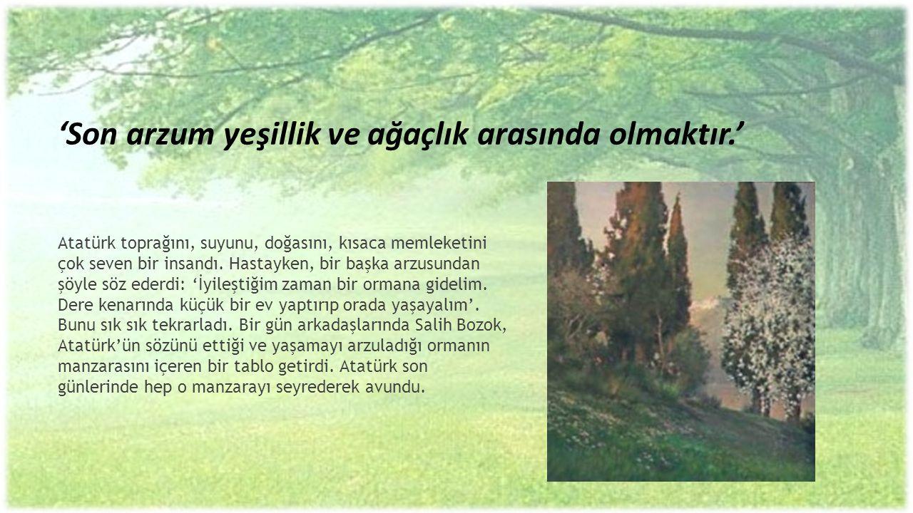 'Son arzum yeşillik ve ağaçlık arasında olmaktır.' Atatürk toprağını, suyunu, doğasını, kısaca memleketini çok seven bir insandı. Hastayken, bir başka