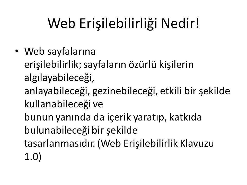 Web Erişilebilirliği Nedir! Web sayfalarına erişilebilirlik; sayfaların özürlü kişilerin algılayabileceği, anlayabileceği, gezinebileceği, etkili bir