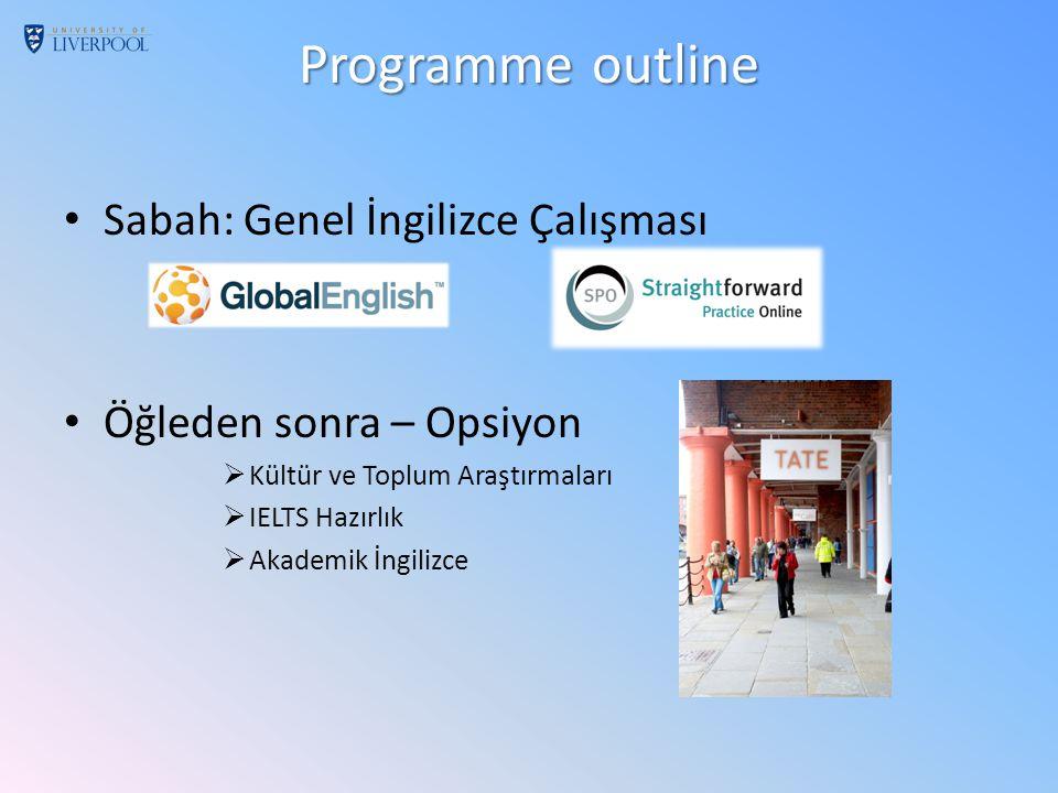 Programme outline Sabah: Genel İngilizce Çalışması Öğleden sonra – Opsiyon  Kültür ve Toplum Araştırmaları  IELTS Hazırlık  Akademik İngilizce