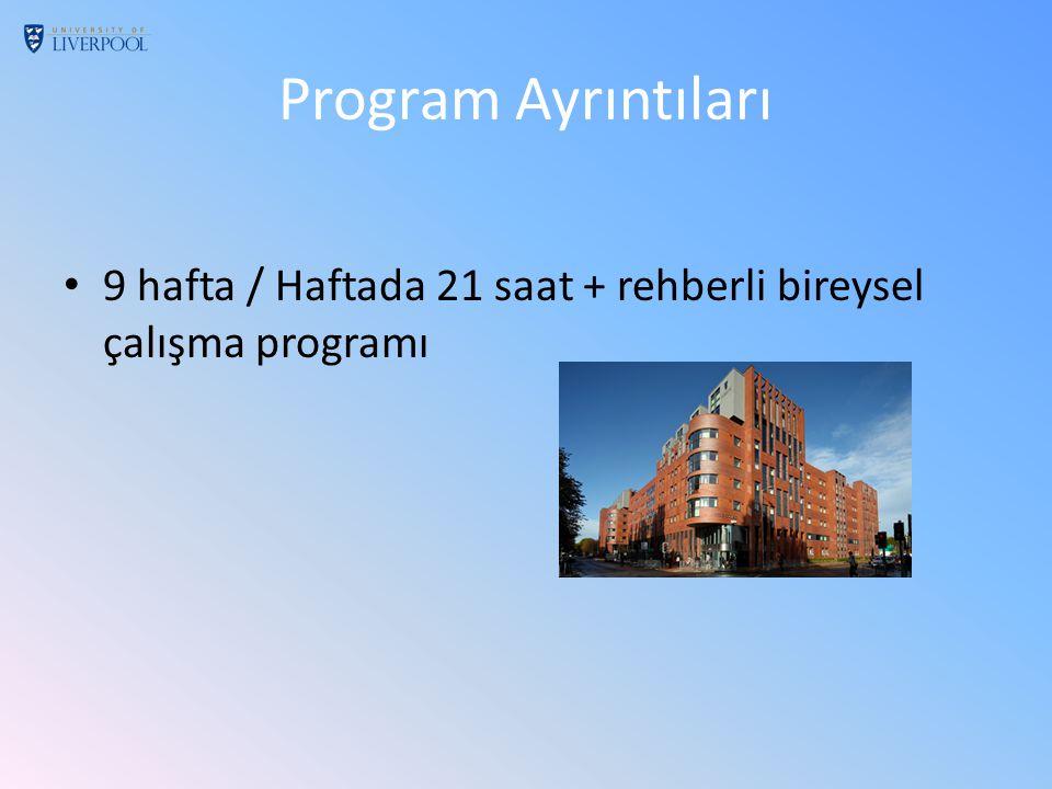 Program Ayrıntıları 9 hafta / Haftada 21 saat + rehberli bireysel çalışma programı