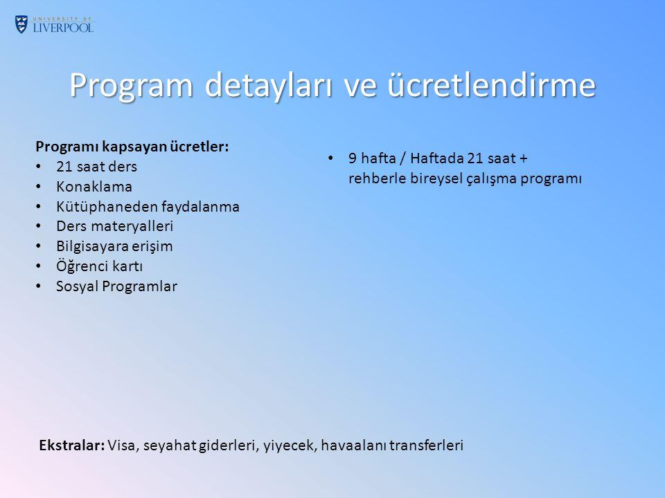 Program detayları ve ücretlendirme Programı kapsayan ücretler: 21 saat ders Konaklama Kütüphaneden faydalanma Ders materyalleri Bilgisayara erişim Öğrenci kartı Sosyal Programlar Ekstralar: Visa, seyahat giderleri, yiyecek, havaalanı transferleri 9 hafta / Haftada 21 saat + rehberle bireysel çalışma programı