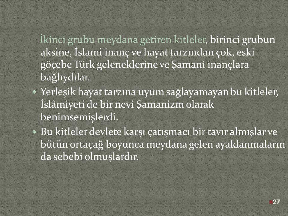 Selçuklu dönemi Anadolu'sunda yeni hayat tarzına karşılık üç farklı tavır ortaya çıkmıştır. Selçuklu sultanları İslam öncesi tarih ve geleneklere karş