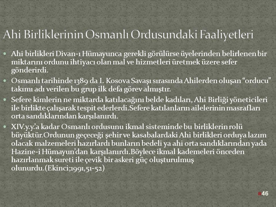 Bir kısım Ahî ileri gelenleri Osmanlı Beyliğinin kuruluşunda önemli rol oynayacaklardır. Ahiler Osmanlıların ilk zamanlarında çok önemli rol oynamışla