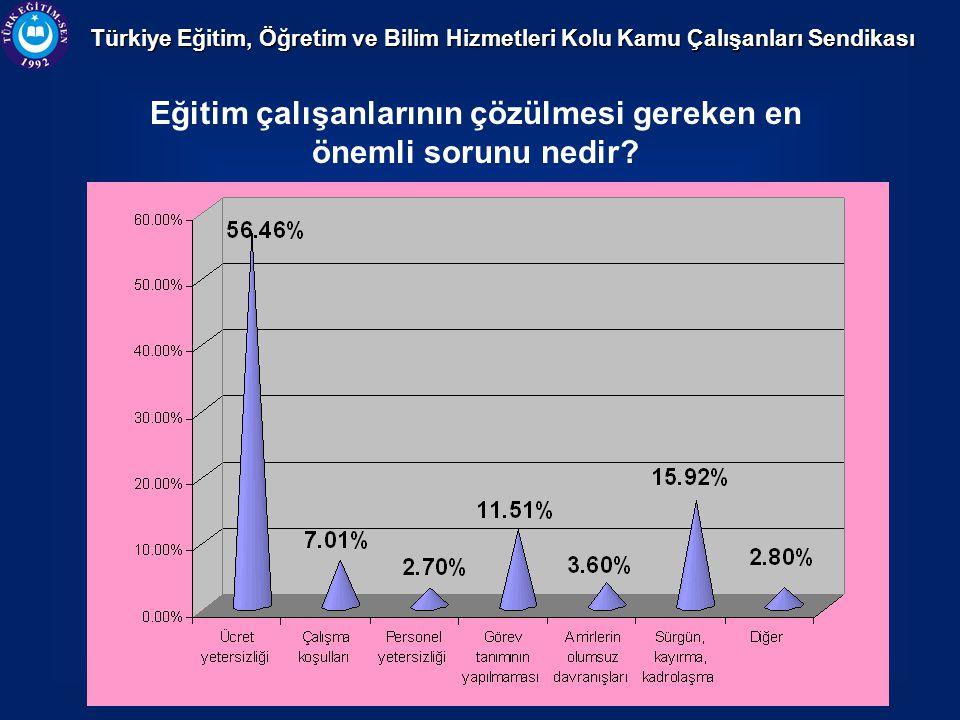 Türkiye Eğitim, Öğretim ve Bilim Hizmetleri Kolu Kamu Çalışanları Sendikası Eğitim çalışanlarının çözülmesi gereken en önemli sorunu nedir?
