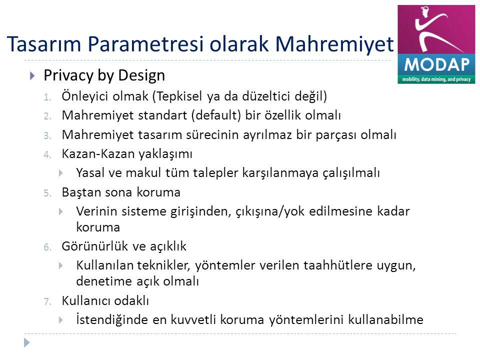Tasarım Parametresi olarak Mahremiyet  Privacy by Design 1. Önleyici olmak (Tepkisel ya da düzeltici değil) 2. Mahremiyet standart (default) bir özel