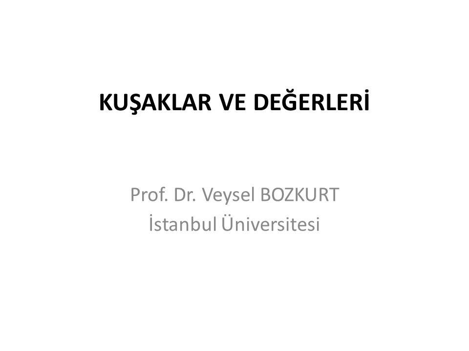 KUŞAKLAR VE DEĞERLERİ Prof. Dr. Veysel BOZKURT İstanbul Üniversitesi