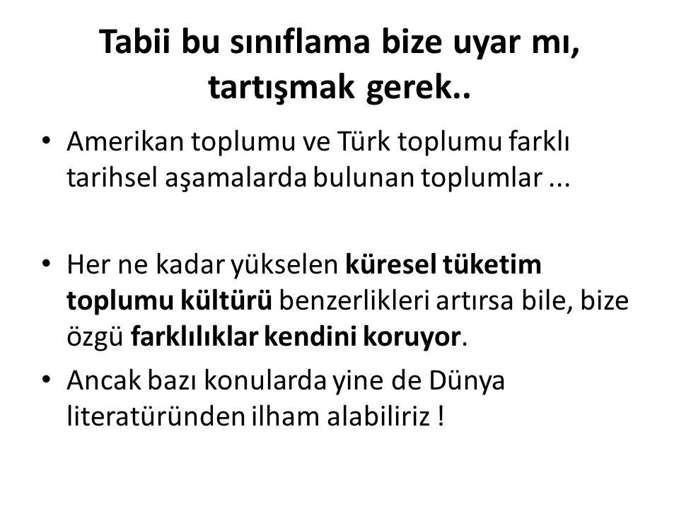 Tabii bu sınıflama bize uyar mı, tartışmak gerek.. Amerikan toplumu ve Türk toplumu farklı tarihsel aşamalarda bulunan toplumlar... Her ne kadar yükse