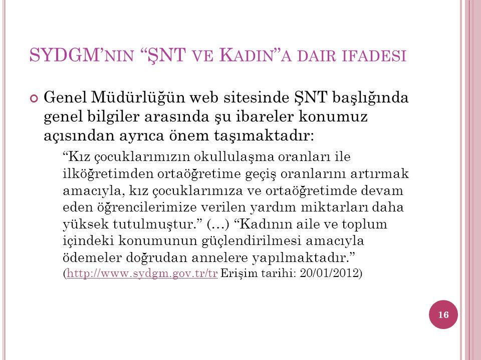 """SYDGM' NIN """"ŞNT VE K ADIN """" A DAIR IFADESI Genel Müdürlüğün web sitesinde ŞNT başlığında genel bilgiler arasında şu ibareler konumuz açısından ayrıca"""