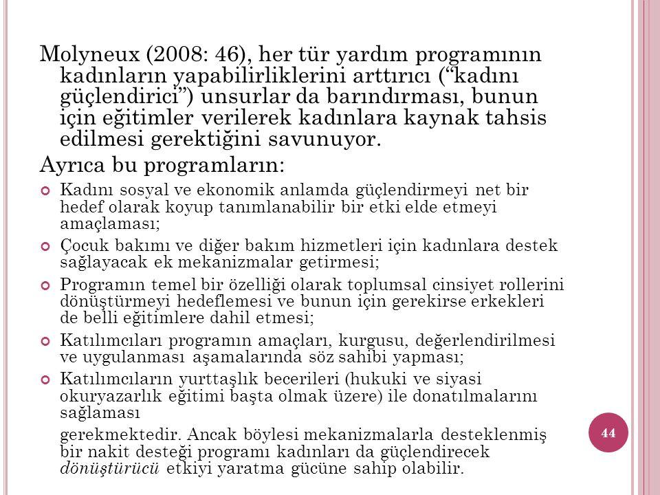 """Molyneux (2008: 46), her tür yardım programının kadınların yapabilirliklerini arttırıcı (""""kadını güçlendirici"""") unsurlar da barındırması, bunun için e"""