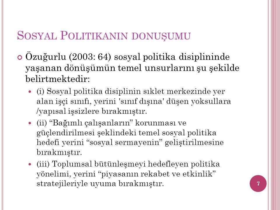 Özuğurlu (2003: 64) sosyal politika disiplininde yaşanan dönüşümün temel unsurlarını şu şekilde belirtmektedir: (i) Sosyal politika disiplinin sıklet