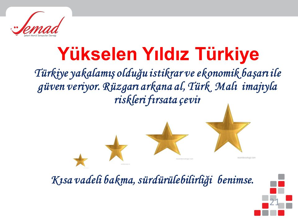 Yükselen Yıldız Türkiye Türkiye yakalamış olduğu istikrar ve ekonomik başarı ile güven veriyor. Rüzgarı arkana al, Türk Malı imajıyla riskleri fırsata