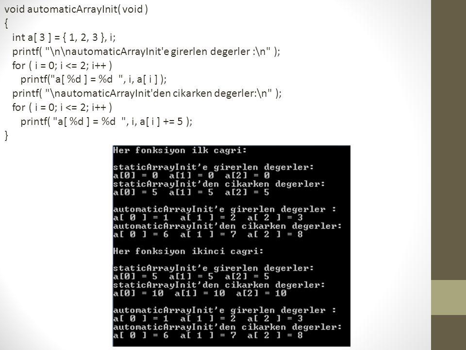 void automaticArrayInit( void ) { int a[ 3 ] = { 1, 2, 3 }, i; printf(