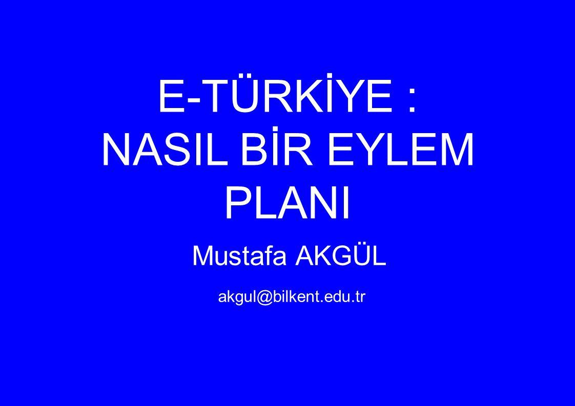 E-TÜRKİYE : NASIL BİR EYLEM PLANI Mustafa AKGÜL akgul@bilkent.edu.tr