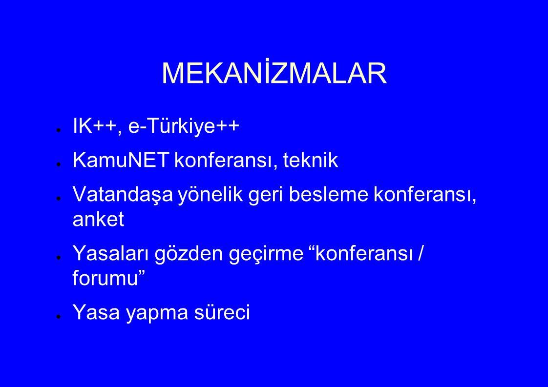 MEKANİZMALAR ● IK++, e-Türkiye++ ● KamuNET konferansı, teknik ● Vatandaşa yönelik geri besleme konferansı, anket ● Yasaları gözden geçirme konferansı / forumu ● Yasa yapma süreci