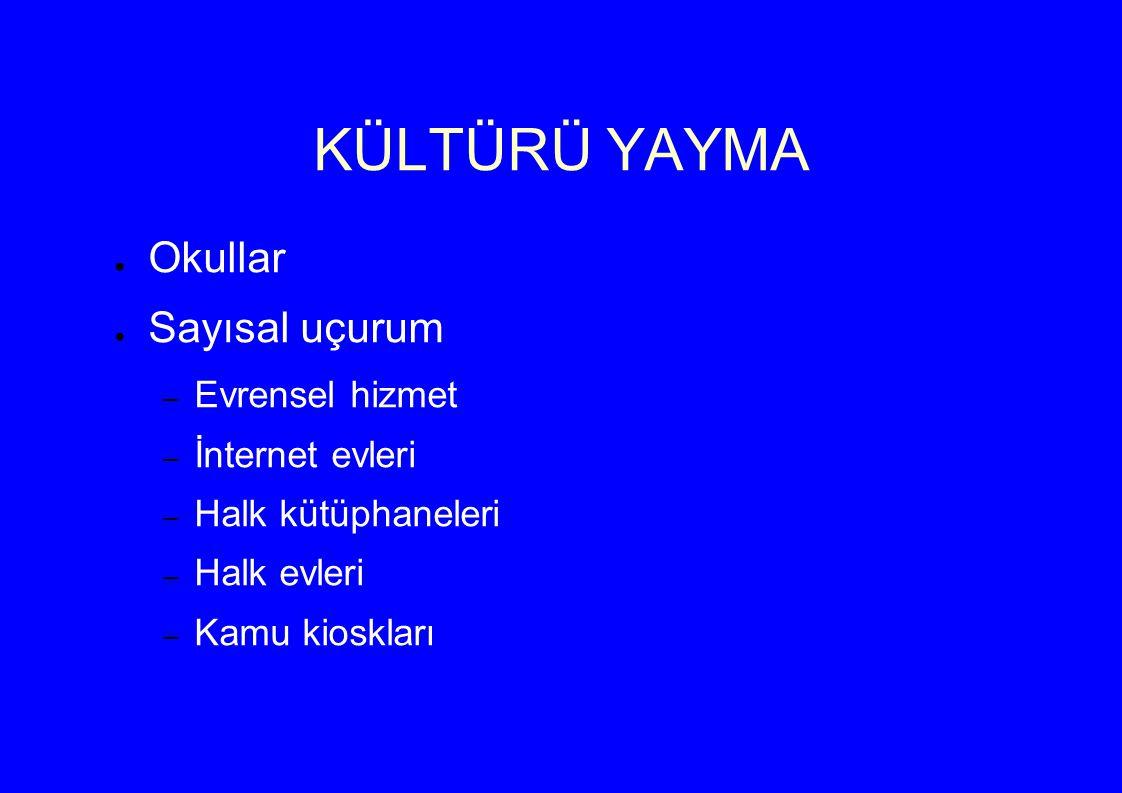 KÜLTÜRÜ YAYMA ● Okullar ● Sayısal uçurum – Evrensel hizmet – İnternet evleri – Halk kütüphaneleri – Halk evleri – Kamu kioskları