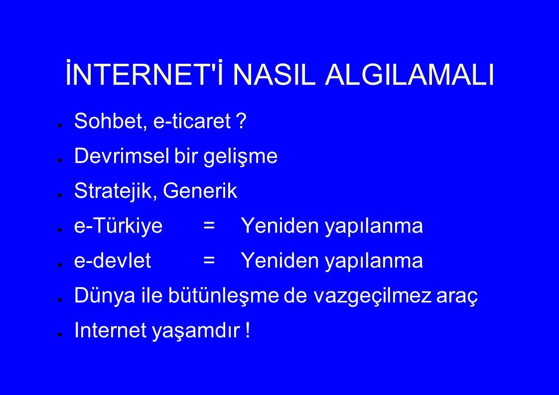 İNTERNET İ NASIL ALGILAMALI ● Sohbet, e-ticaret .