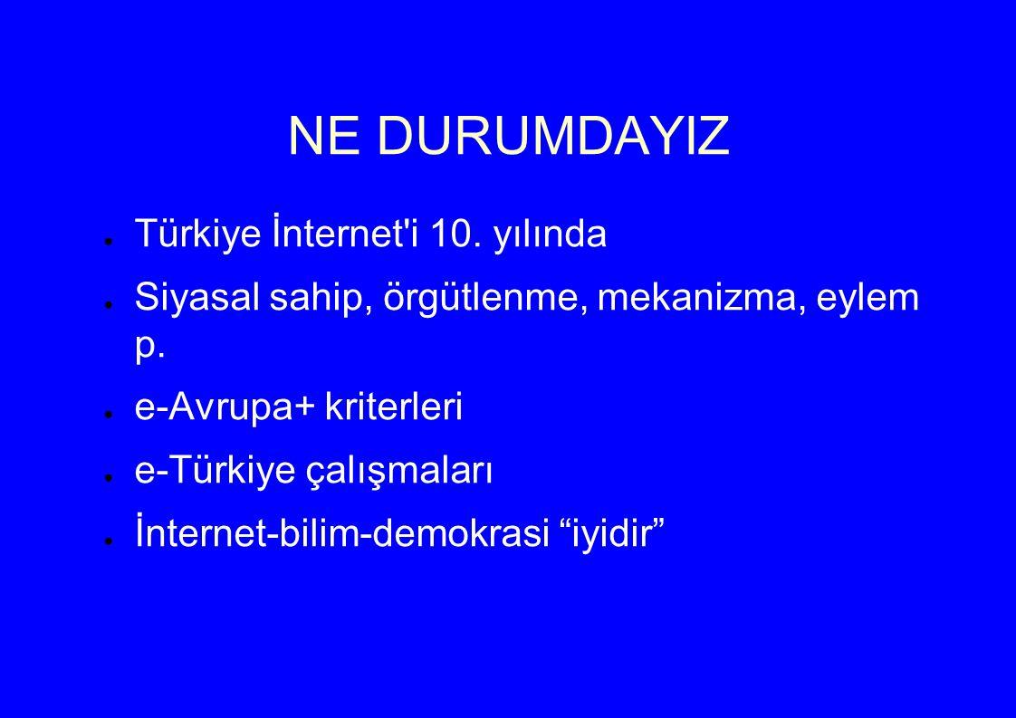 NE DURUMDAYIZ ● Türkiye İnternet i 10. yılında ● Siyasal sahip, örgütlenme, mekanizma, eylem p.