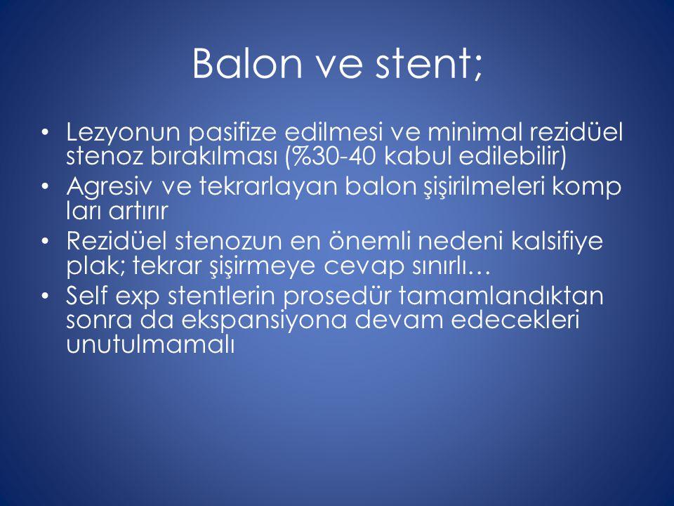 Balon ve stent; Lezyonun pasifize edilmesi ve minimal rezidüel stenoz bırakılması (%30-40 kabul edilebilir) Agresiv ve tekrarlayan balon şişirilmeleri