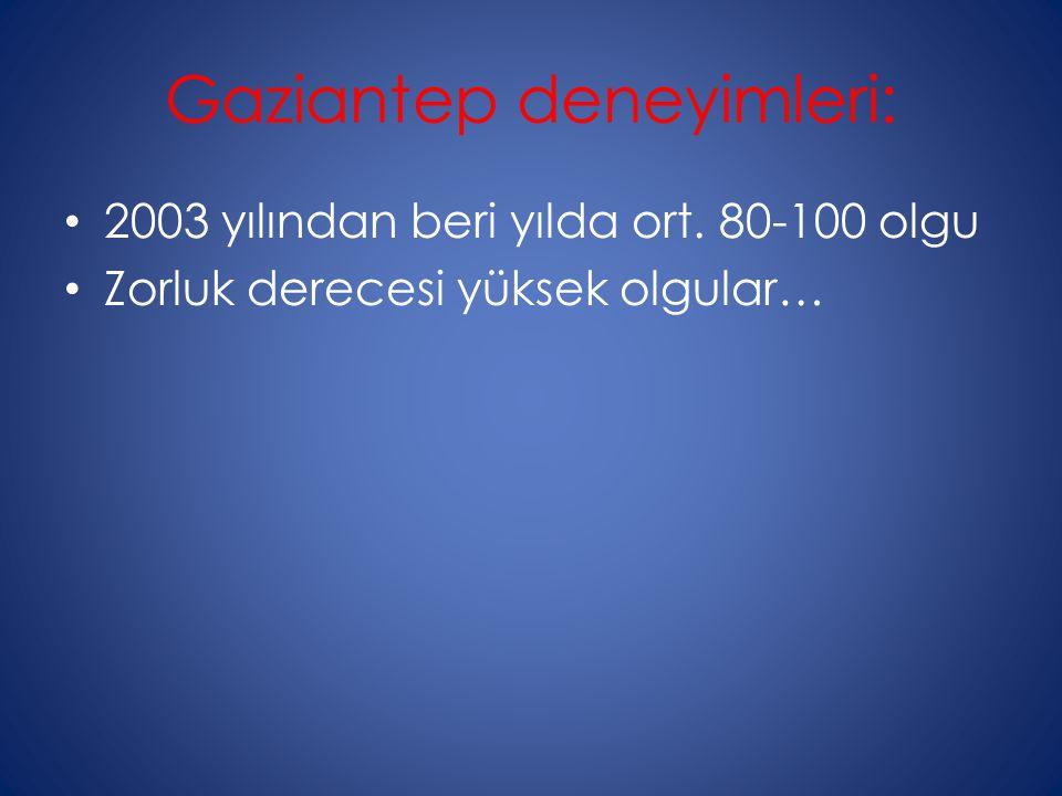 Gaziantep deneyimleri: 2003 yılından beri yılda ort. 80-100 olgu Zorluk derecesi yüksek olgular…