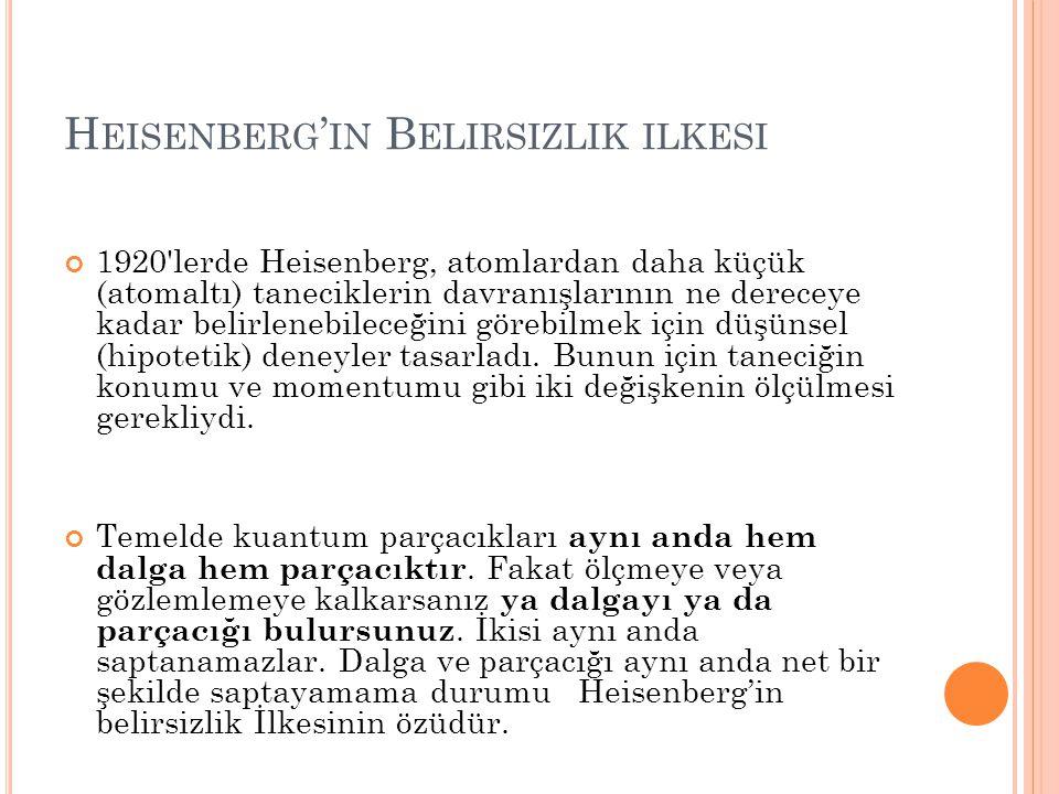 H EISENBERG ' IN B ELIRSIZLIK ILKESI 1920 lerde Heisenberg, atomlardan daha küçük (atomaltı) taneciklerin davranışlarının ne dereceye kadar belirlenebileceğini görebilmek için düşünsel (hipotetik) deneyler tasarladı.