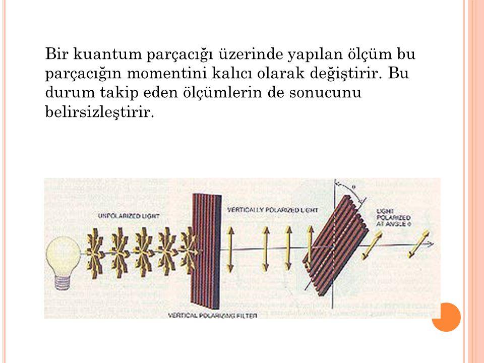 Bir kuantum parçacığı üzerinde yapılan ölçüm bu parçacığın momentini kalıcı olarak değiştirir.