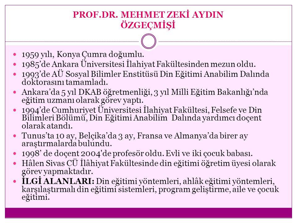 PROF.DR. MEHMET ZEKİ AYDIN ÖZGEÇMİŞİ 1959 yılı, Konya Çumra doğumlu. 1985'de Ankara Üniversitesi İlahiyat Fakültesinden mezun oldu. 1993'de AÜ Sosyal