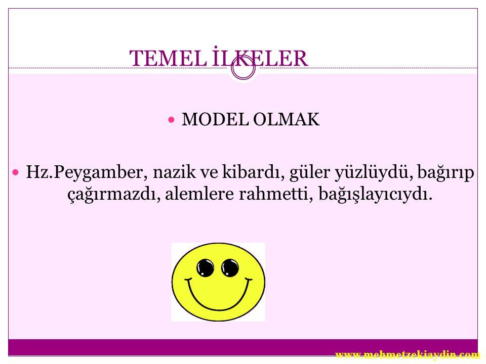 TEMEL İLKELER MODEL OLMAK Hz.Peygamber, nazik ve kibardı, güler yüzlüydü, bağırıp çağırmazdı, alemlere rahmetti, bağışlayıcıydı. www.mehmetzekiaydin.c