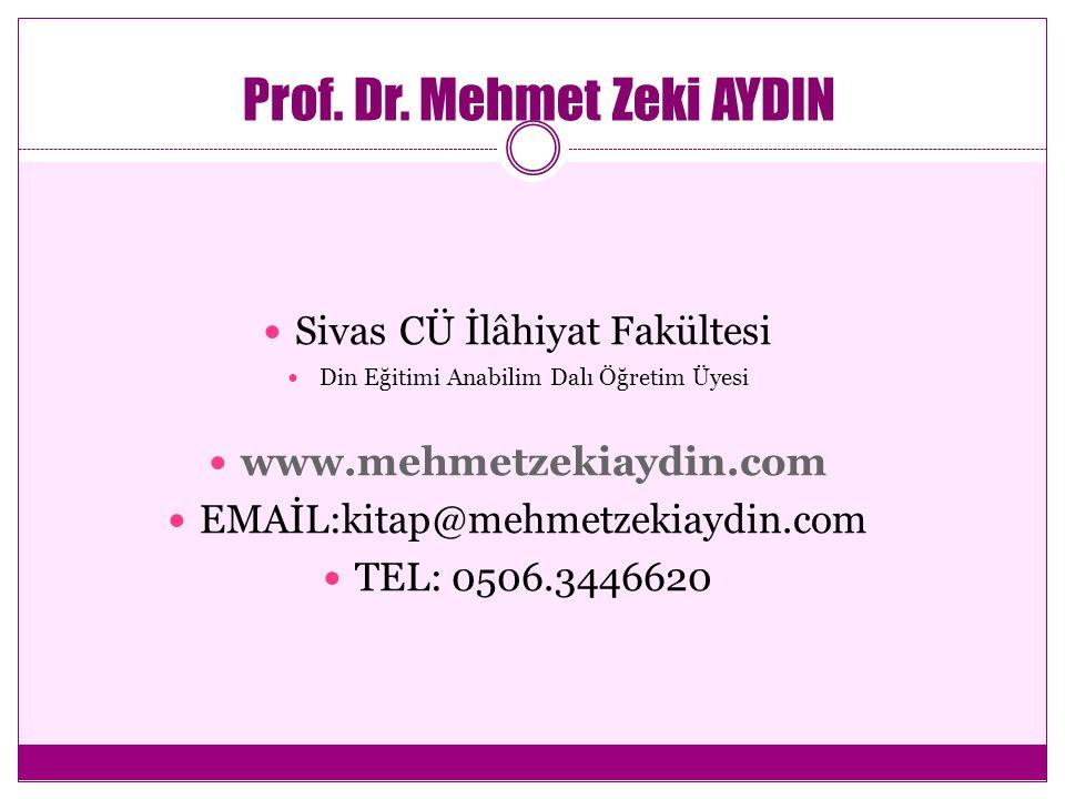Prof. Dr. Mehmet Zeki AYDIN Sivas CÜ İlâhiyat Fakültesi Din Eğitimi Anabilim Dalı Öğretim Üyesi www.mehmetzekiaydin.com EMAİL:kitap@mehmetzekiaydin.co