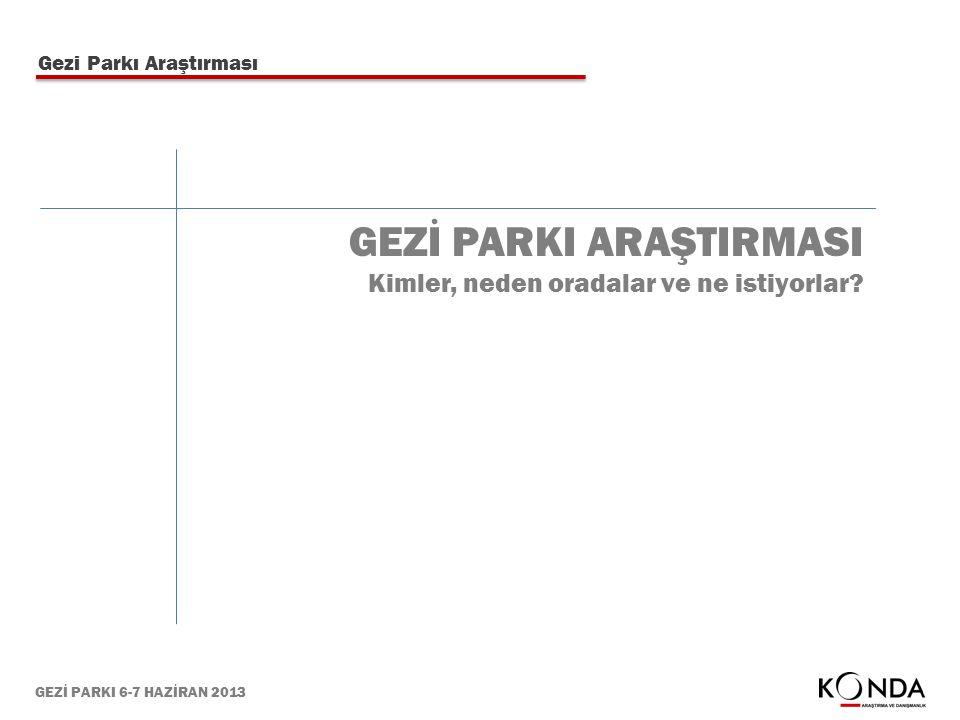 GEZİ PARKI 6-7 HAZİRAN 2013 Gezi Parkı Araştırması GEZİ PARKI ARAŞTIRMASI Kimler, neden oradalar ve ne istiyorlar?