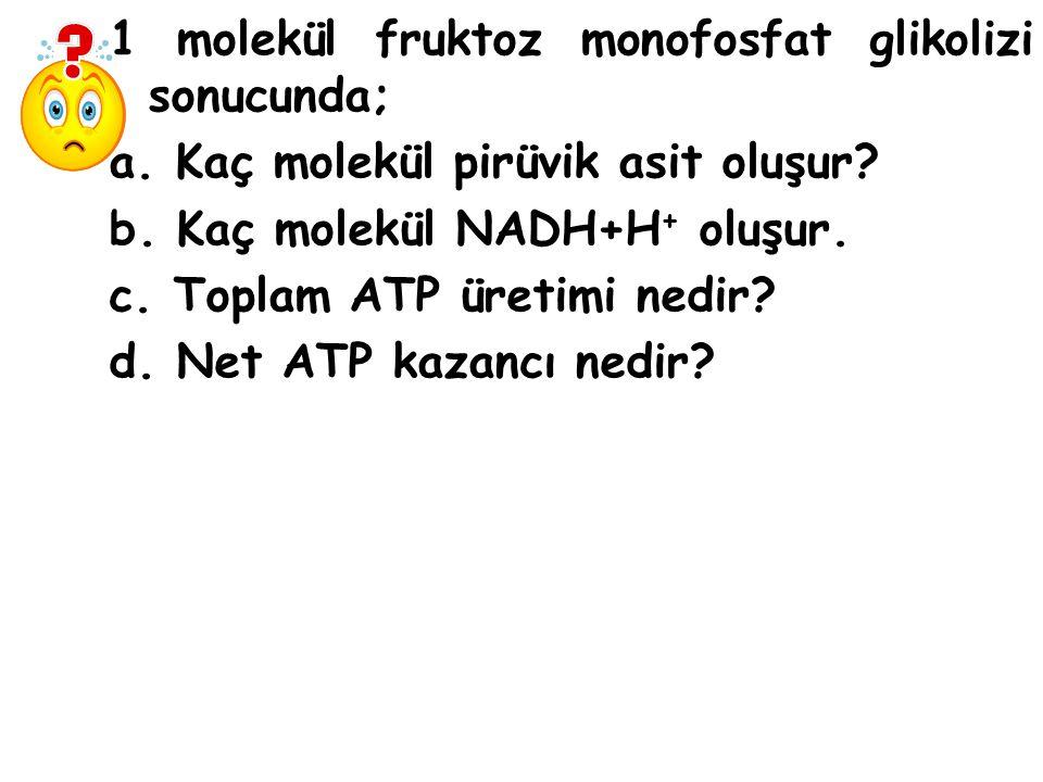 1 molekül fruktoz monofosfat glikolizi sonucunda; a.