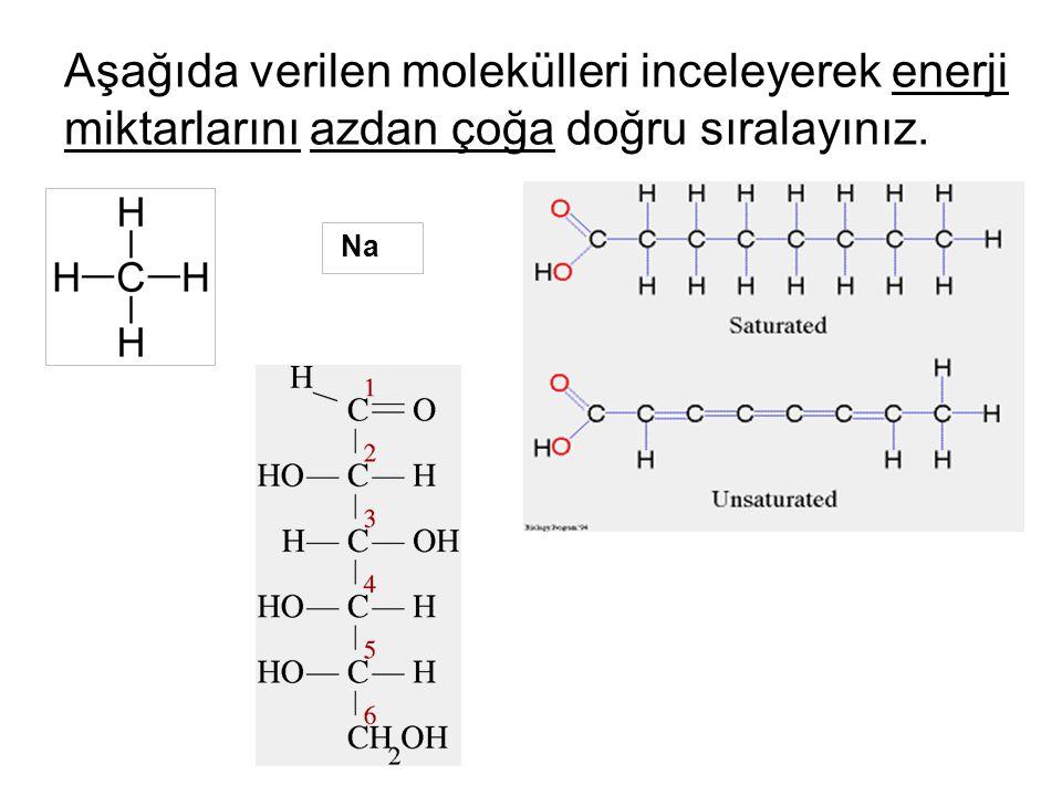 Aşağıda verilen molekülleri inceleyerek enerji miktarlarını azdan çoğa doğru sıralayınız. Na