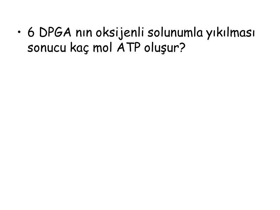 6 DPGA nın oksijenli solunumla yıkılması sonucu kaç mol ATP oluşur?