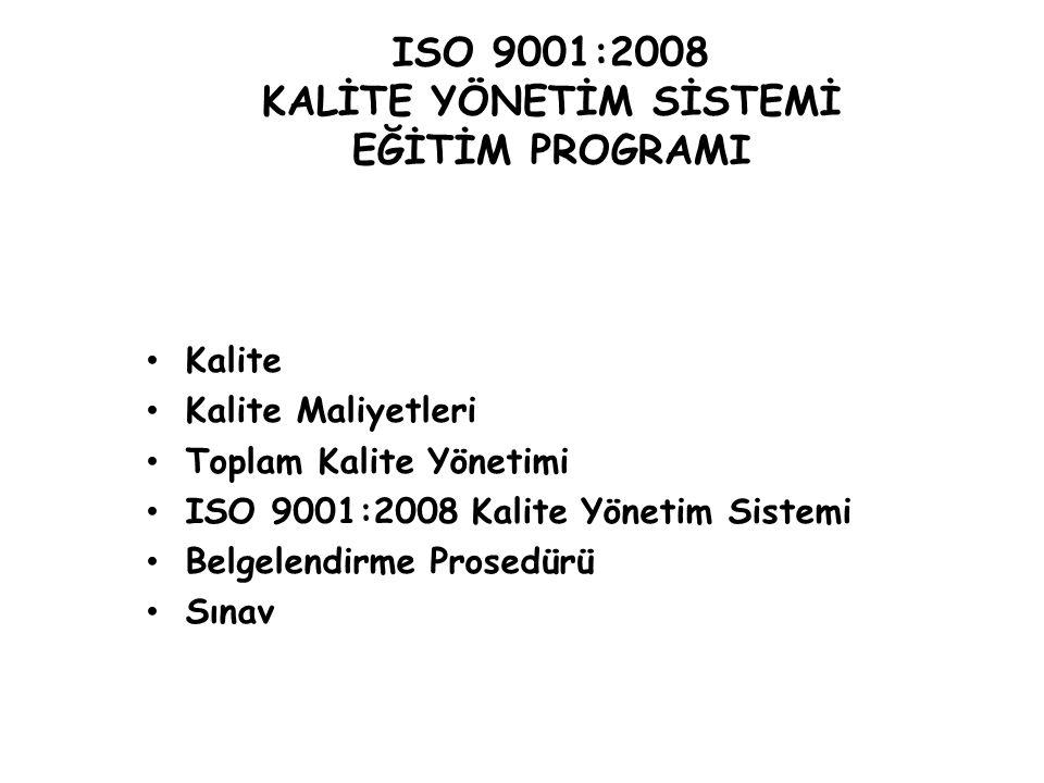 TS EN ISO 9001:2008 KALİTE YÖNETİM SİSTEMİ