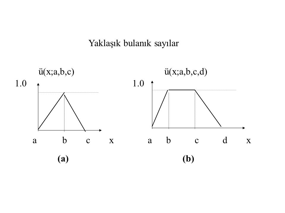 Yaklaşık bulanık sayılar (a) (b) ü(x;a,b,c) ü(x;a,b,c,d) 1.0 a b c x a b c d x