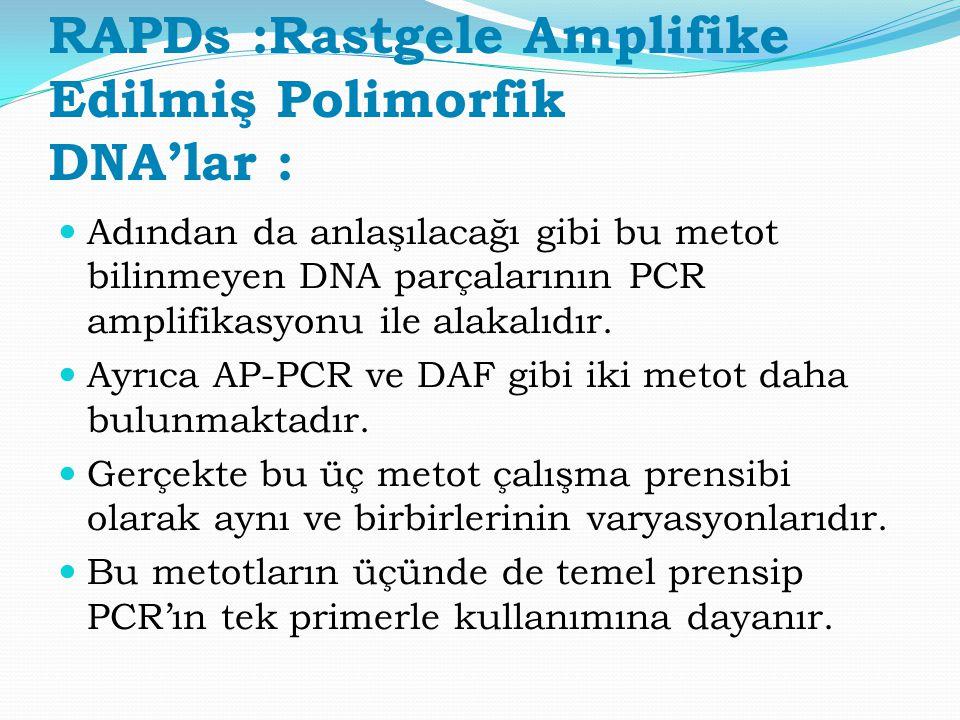 RAPDs :Rastgele Amplifike Edilmiş Polimorfik DNA'lar : Adından da anlaşılacağı gibi bu metot bilinmeyen DNA parçalarının PCR amplifikasyonu ile alakal