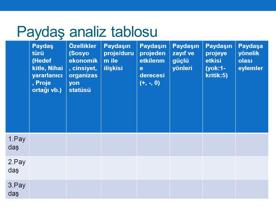 Paydaş analiz tablosu Paydaş türü (Hedef kitle, Nihai yararlanıcı, Proje ortağı vb.) Özellikler (Sosyo ekonomik, cinsiyet, organizas yon statüsü Payda