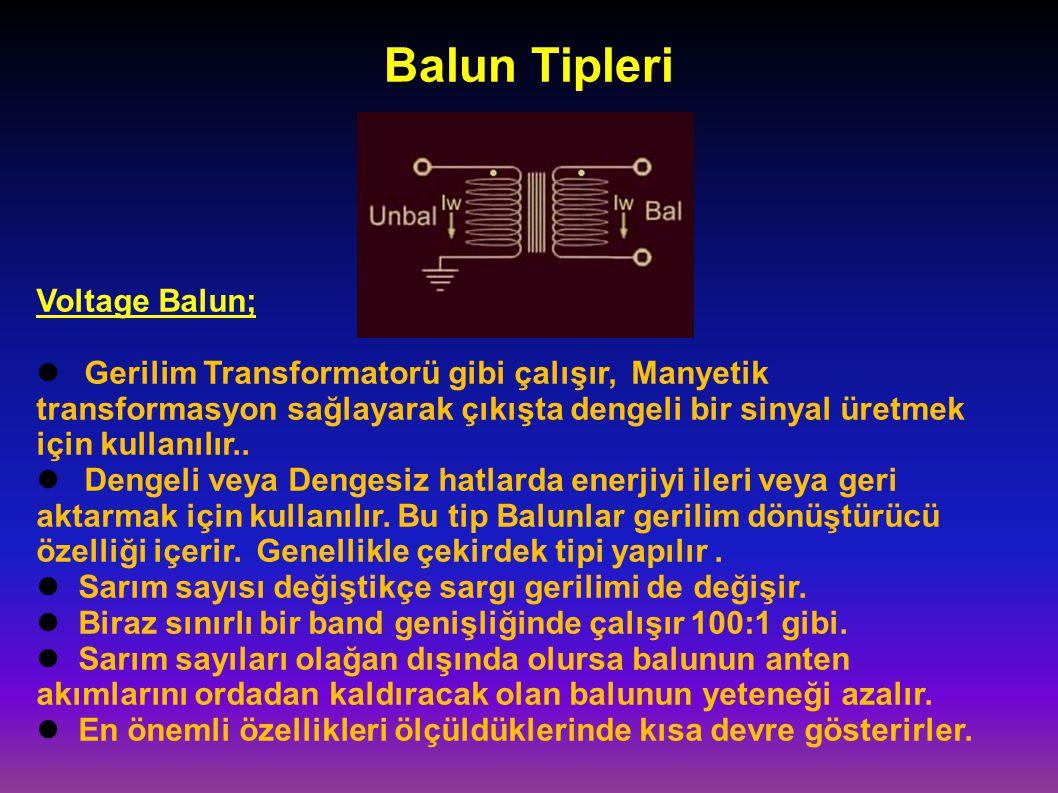 Balun Tipleri Voltage Balun; Gerilim Transformatorü gibi çalışır, Manyetik transformasyon sağlayarak çıkışta dengeli bir sinyal üretmek için kullanılır..