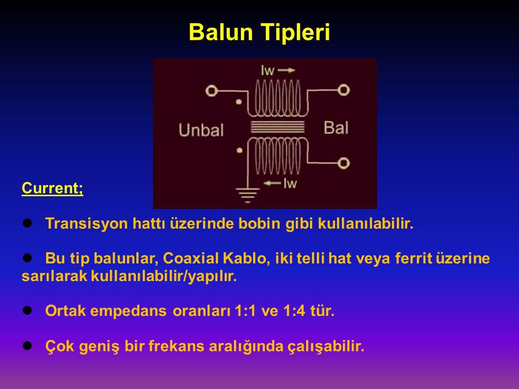 Balun Tipleri Current; Transisyon hattı üzerinde bobin gibi kullanılabilir. Bu tip balunlar, Coaxial Kablo, iki telli hat veya ferrit üzerine sarılara
