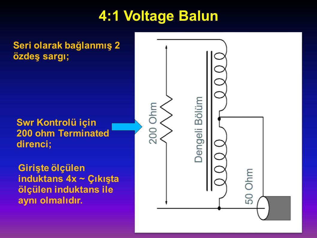 Seri olarak bağlanmış 2 özdeş sargı; 4:1 Voltage Balun Swr Kontrolü için 200 ohm Terminated direnci; Girişte ölçülen induktans 4x ~ Çıkışta ölçülen in