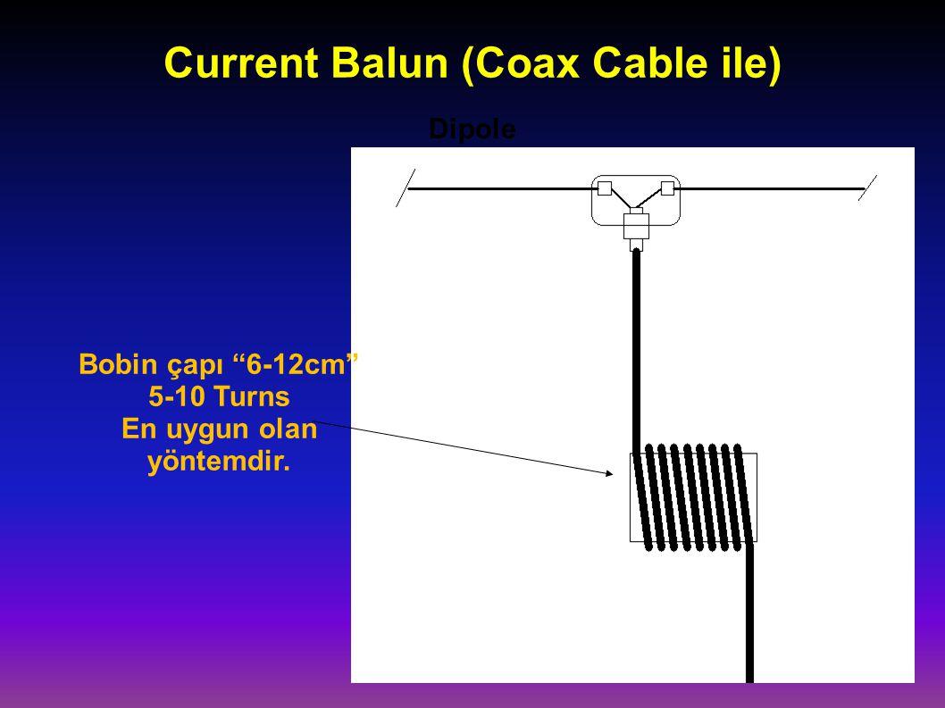 """Current Balun (Coax Cable ile) Dipole Bobin çapı """"6-12cm"""" 5-10 Turns En uygun olan yöntemdir."""